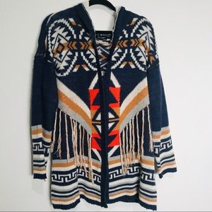 Blu pepper aztec boho sweater cardigan